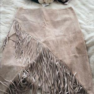 Intermix Suede Fringe Skirt size L